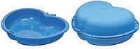Песочница ЯБЛОКО без крышки, голубая, пластик (13-515)
