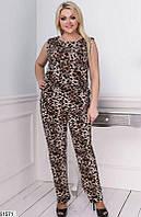 Комбинезон женский летний леопардовый трикотажный 48-58 размера, 2 цвета