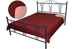 Покрывало на кровать, диван бордовое 212х240 двустороннее