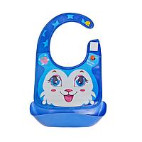 Нагрудник с жестким  пластиковым ковшом для крошек и жидкости, фото 1