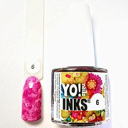 Акварельные чернила Yo!Nails INKS 6 (розовый цвет)