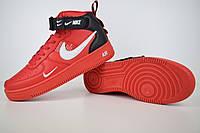 Мужские кроссовки в стиле Nike Air Force 1 красные   , фото 1