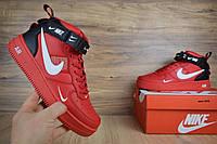 Мужские кроссовки Nike Air Force 1 красные топ реплика , фото 1