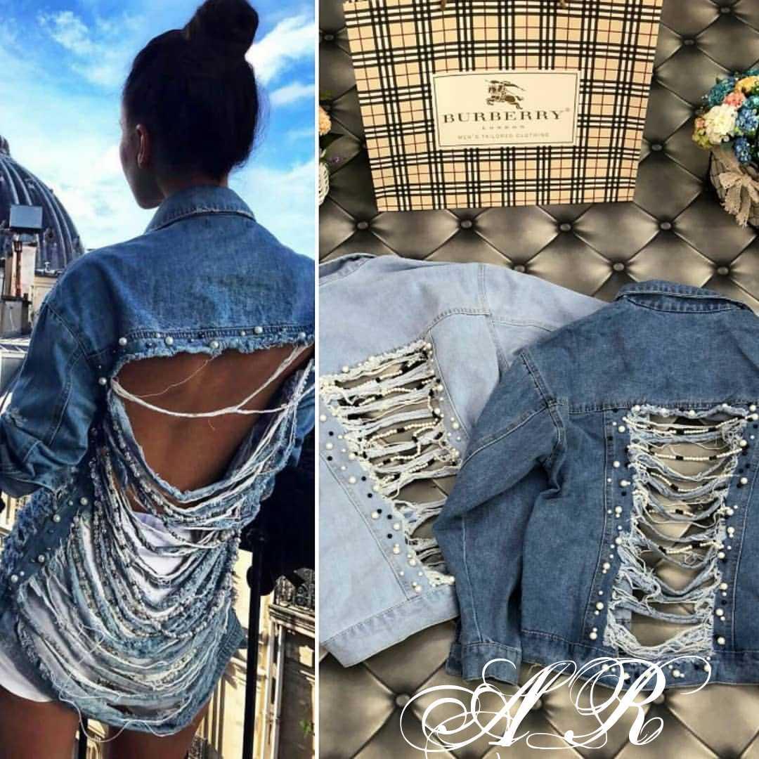 Джинсовая куртка свободного кроя с разрезами на спине