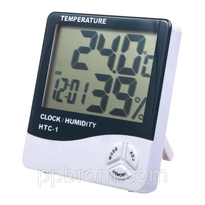 """Измеритель температуры и влажности с часами """"HTC-1"""""""