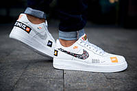 Кроссовки Nike Air Force 1 07 Just Do It Pack White  (реплика +ААА), фото 1
