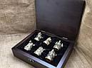 """Набор бронзовых чарок ручной работы """"Охотничьи"""" 6 штук, в кейсе из натурального дерева, фото 2"""