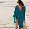 Пляжная туника-платье зеленого цвета с кружевами