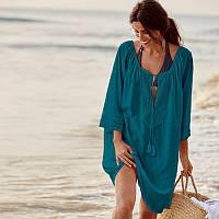 Пляжная туника-платье зеленого цвета с кружевами, фото 1