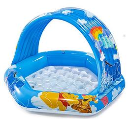Детский надувной бассейн с навесом.Мобильный бассейн.Товары для пляжного отдыха.