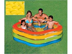 Детский надувной бассейн Радуга цветок 182 х 53, 466 л, 3 кольца, intex 56495