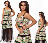 Женское длинное платье из шелка с сеткой (бежевый) 827999
