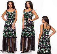 Летнее длинное платье с цветочным принтом (черный) 827998