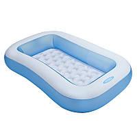 Детский надувной бассейн прямоугольный для малышей, 166-100-28 см, надувное дно,intex 57403