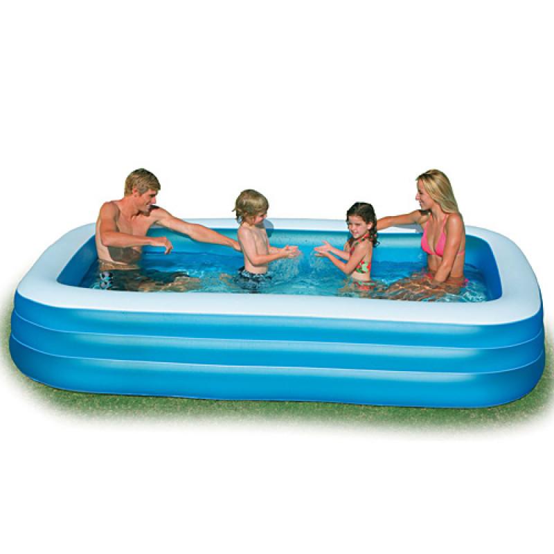 Надувной бассейн прямоугольный большой для всей семьи голубой, 305 х 183 х 56 см, 3 кольца, 999 л, intex 58484