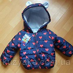Детская демисезонная куртка для девочки Ушки на рост 92, 98 см