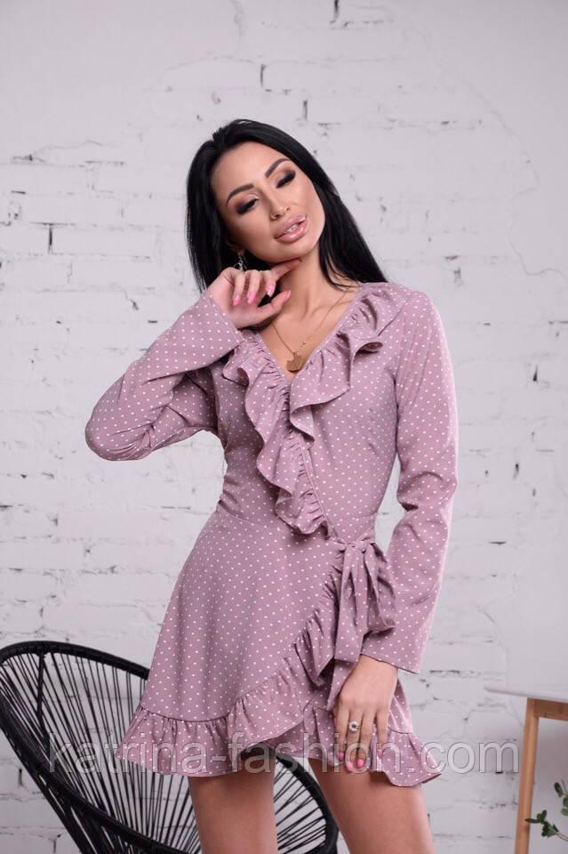 Женское платье на запах с рюшами (в расцветках)