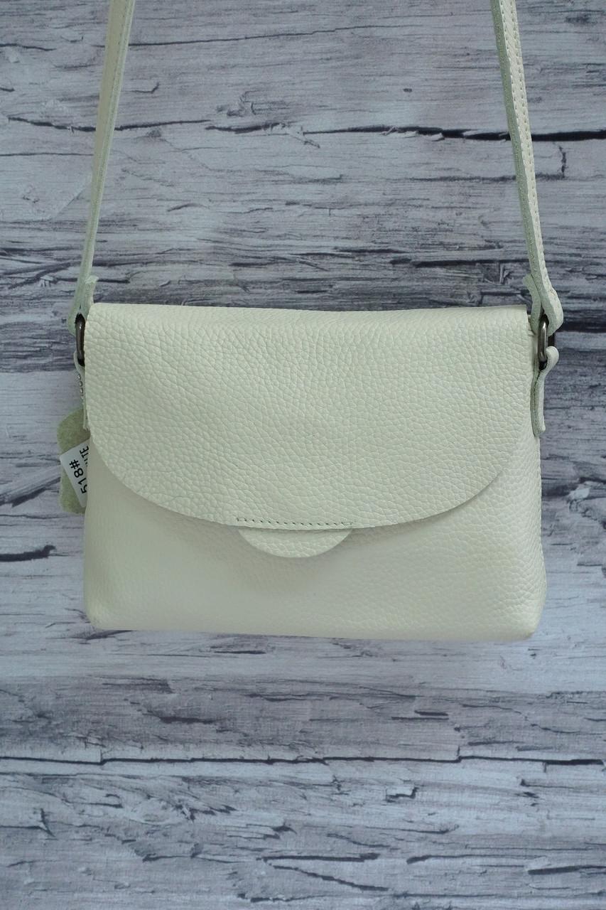 Небольшой клатч из натуральной матовой кожи 518 rice white