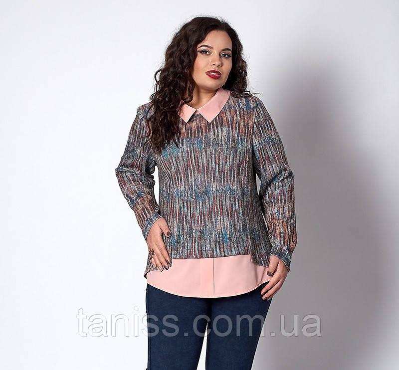 Деловая весенняя кофта-рубашка, обманка, ангора с люрексом, мягкая р. 52,54,56 меланж персик (575)
