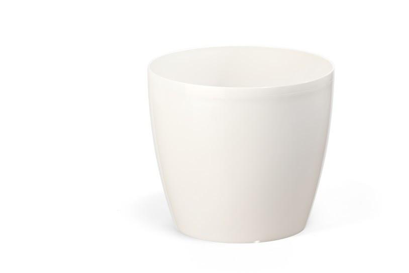 """Горщик пластиковий вазон """"Магнолія"""" 135мм (Білий перламутр) з підставкою"""