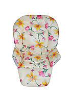 Чехол на сидение к стульчику для кормления DavLu Мишки Цветы молочный (Ch-324), фото 1