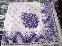 Платок оптом белый с голубыми цветами