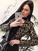 Женская кожаная куртка-косуха с животным принтом, фото 4