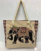 """Пляжная сумка на канатных ручках 3017 """"Индийский Слон"""" женская на молнии текстильная 45х33х11 см"""