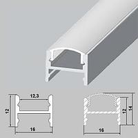 Накладной алюминиевый профиль ЛПC-12 для светодиодной ленты со скрытым креплением