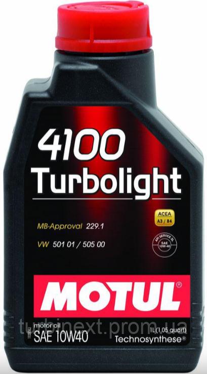 Масло 10W40 Turbolight 4100 (1L) (VW 501.01/505.00/MB 229.3/RN 0700/PSA B71 2300) (102774) MOTUL 387601