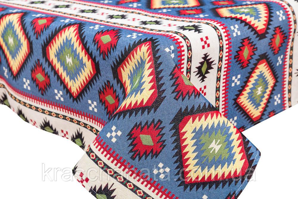 Скатерть гобеленовая, Карпатские узоры, 97х100 см, Эксклюзивные подарки, Столовый текстиль