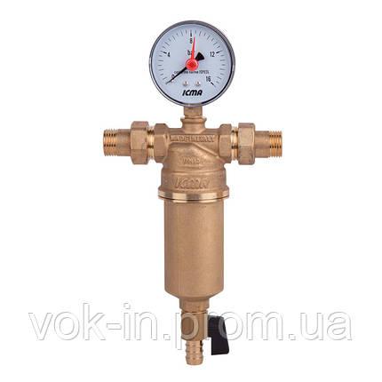"""Самопромывной фильтр с манометром и присоединительными штуцерами 1 1/4"""" ICMA №751, фото 2"""