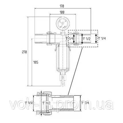 """Самопромывной фильтр с манометром 1 1/2""""х1 1/4"""" ICMA №750, фото 2"""