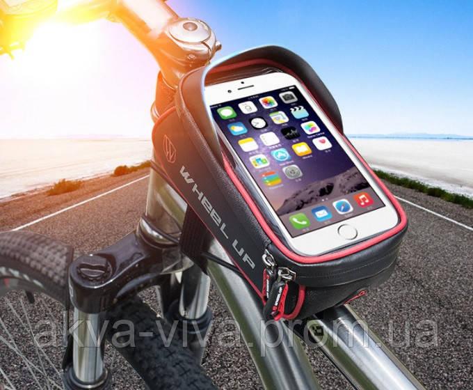 Велосумка на раму с отделом для смартфона и козырьком