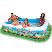 """Надувной бассейн прямоугольный большой для всей семьи """"Океанский риф"""", 305 х 183 х 56 см, 3 кольца, intex 5848"""