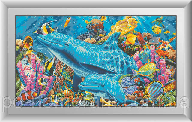 алмазная вышивка большие размеры дельфины