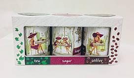 Набор коробок из жести, Кофе, Чай, Сахар, Подарочный набор 3 шт, Днепр