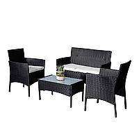 Комплект садовой мебели плетеной из ротанга BELEN Черный цвет