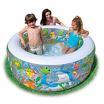 Детский надувной бассейн круглый Морские обитптели, 152 х 56, 3 кольца, 318 л, intex 58480