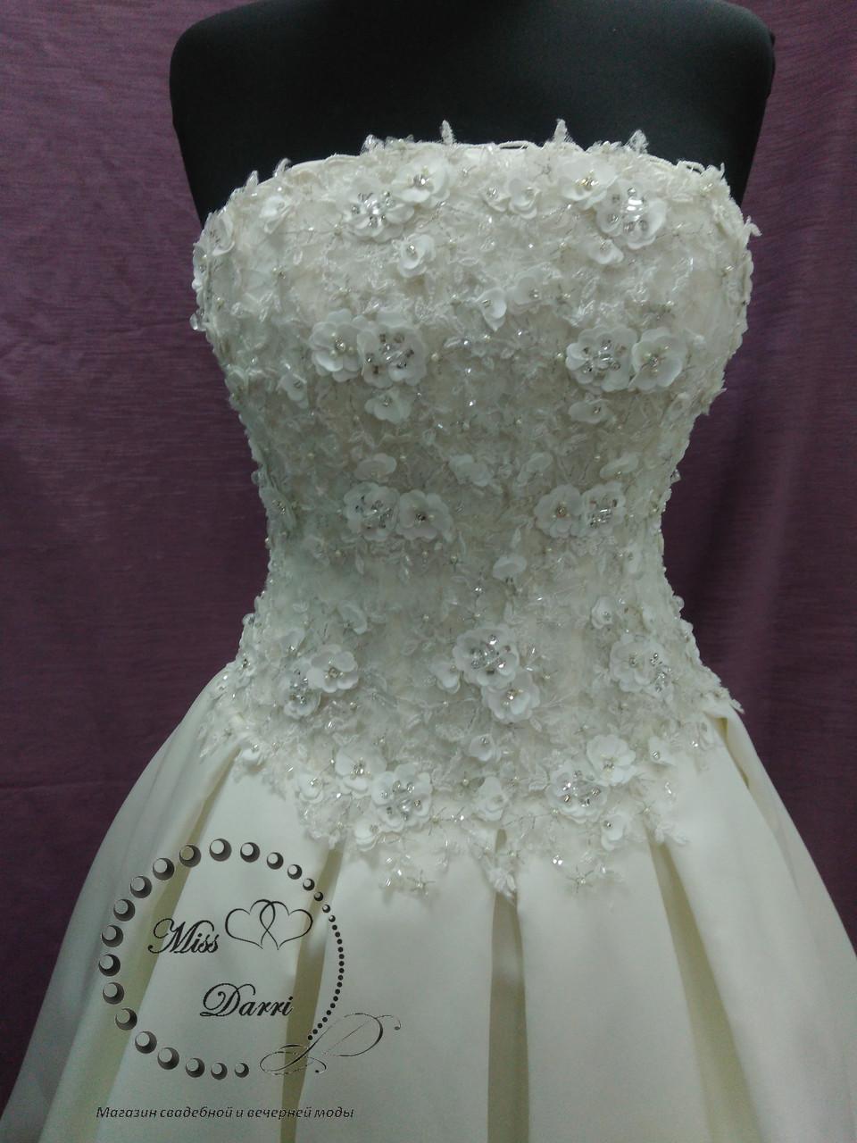 6bd8dc5f41e04d0 ... Короткое свадебное платье с 3Д гипюром айвори (молочное)+болеро, ...
