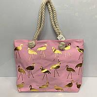 """Пляжная сумка розовая женская на змейке летняя тканевая ручки канаты 3065 """"Золотые Фламинго"""" 50х35х10см"""
