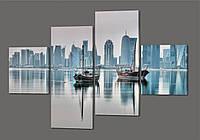 Модульная картина Море. Город. Лодки 160*114 см Код: 328.4k.160