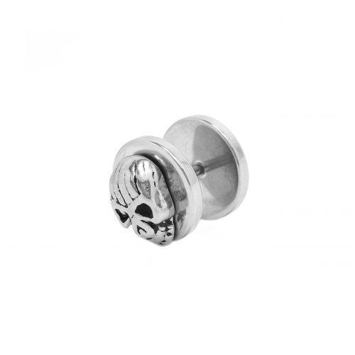 Серьга для пирсинга уха спайка диски с черепом 141119