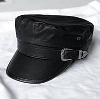 Женский картуз, кепи, фуражка из кожзама пряжкой черный, фото 1