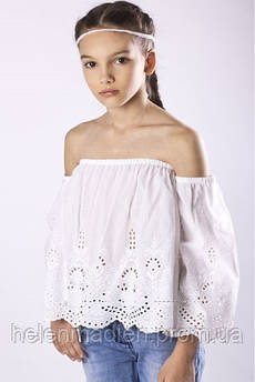Блуза To Be Too детская с вышивкой прошва белая Италия