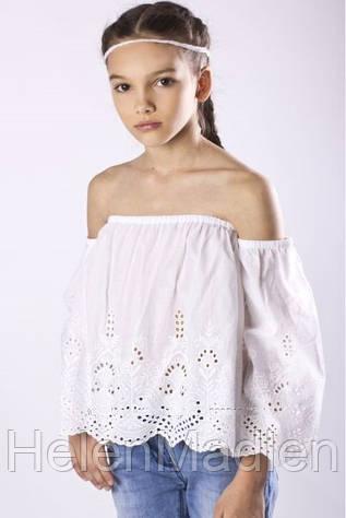Блуза To Be Too детская с вышивкой хлопковая прошва белая Италия