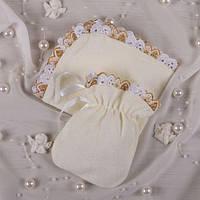 Мешочек для волос и салфетка Махра Молочный