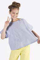 Блуза с короткими рукавами To Be Too TF17115 128 см Бело-голубая полоска