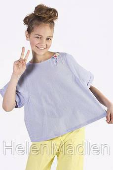 Блуза To Be Too детская в бело-голубую полоску 128 см TF17115