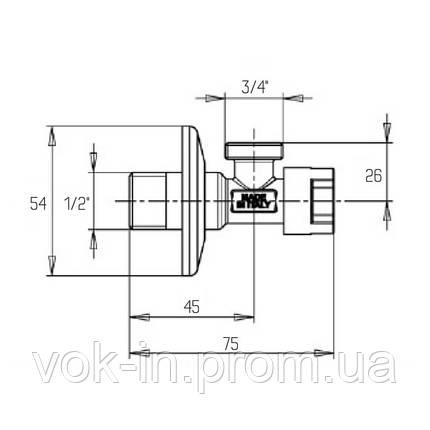 Кран приборный угловой 1/2*3/4 с кран-буксой ICMA №519, фото 2